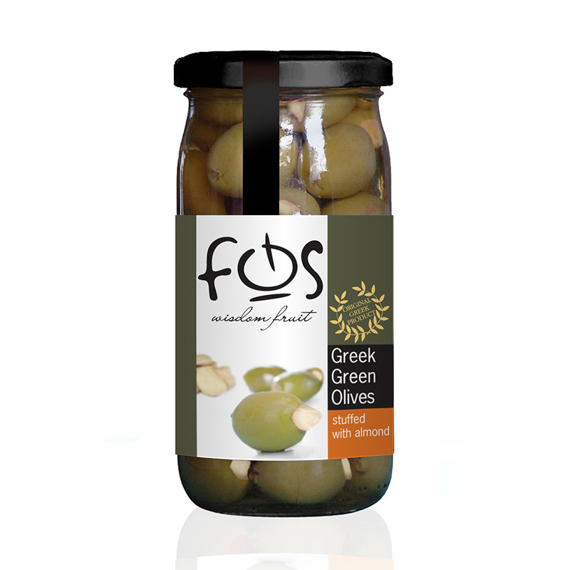 FOS – Greek Green olives stuffed with almond – glass jar 360gr
