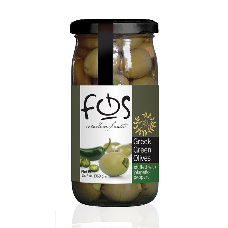 FOS – Greek Green olives stuffed with jalapeno – glass jar 360gr