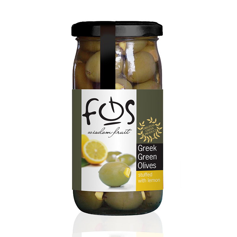 FOS – Greek Green olives stuffed with lemon – glass jar 360gr