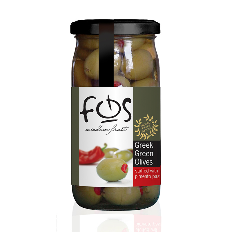 FOS – Greek Green olives stuffed with pimiento – glass jar 360gr