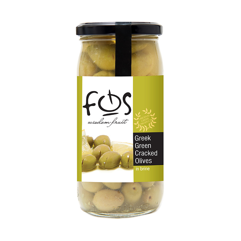 FOS – Greek Green Cracked olives – glass jar 360gr