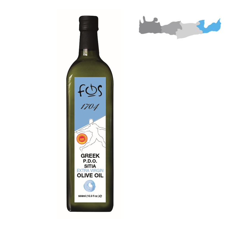 FOS 1704 – P.D.O. Sitia Extra Virgin Olive Oil – glass bottle