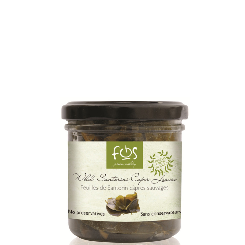 FOS – Greek Wild Caper Leaves of Santorini – glass jar 90gr