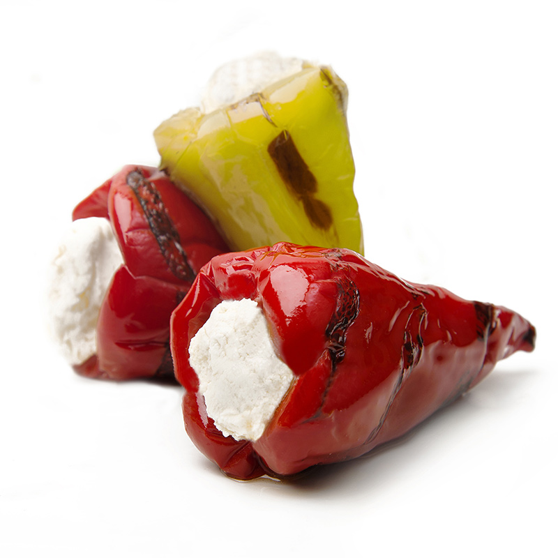 FOS – Greek Red & Green Grilled Heart Peppers stuffed with cheese