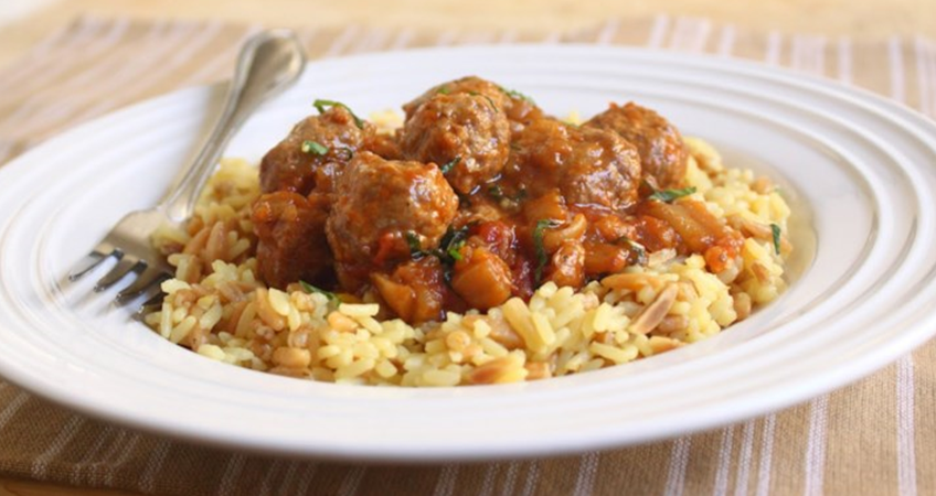 ittle Lamb Meatballs in a Spicy Eggplant Tomato Sauce