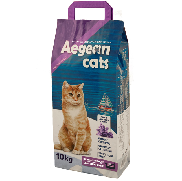 Aegean Cats Natural Cat Litter (10kg) perfumed with lavender aroma