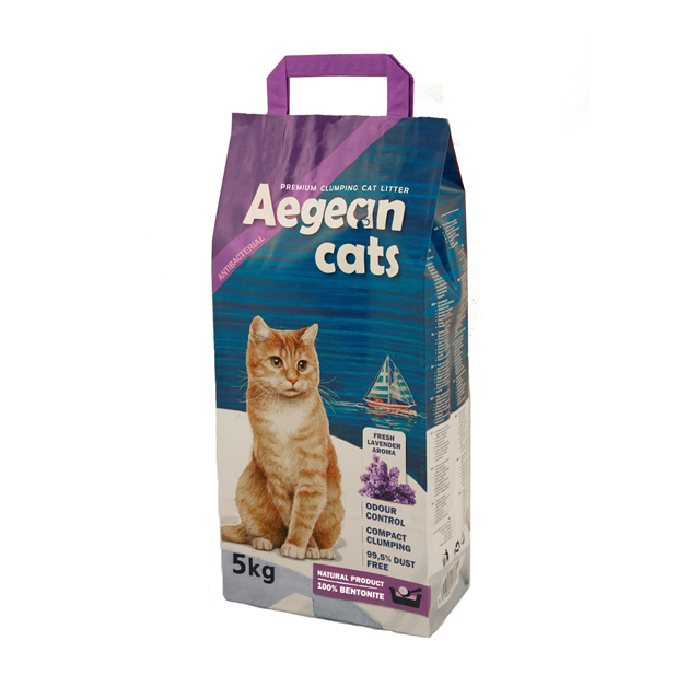 Aegean Cats Natural Cat Litter (5kg) perfumed with lavender aroma
