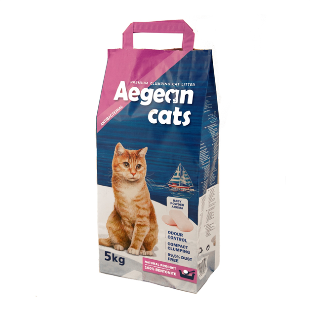 Aegean Cats Natural Cat Litter (5kg) perfumed with baby powder