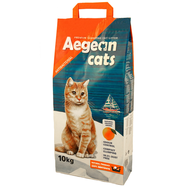 Aegean Cats Natural Cat Litter (10kg) perfumed with natural orange scent