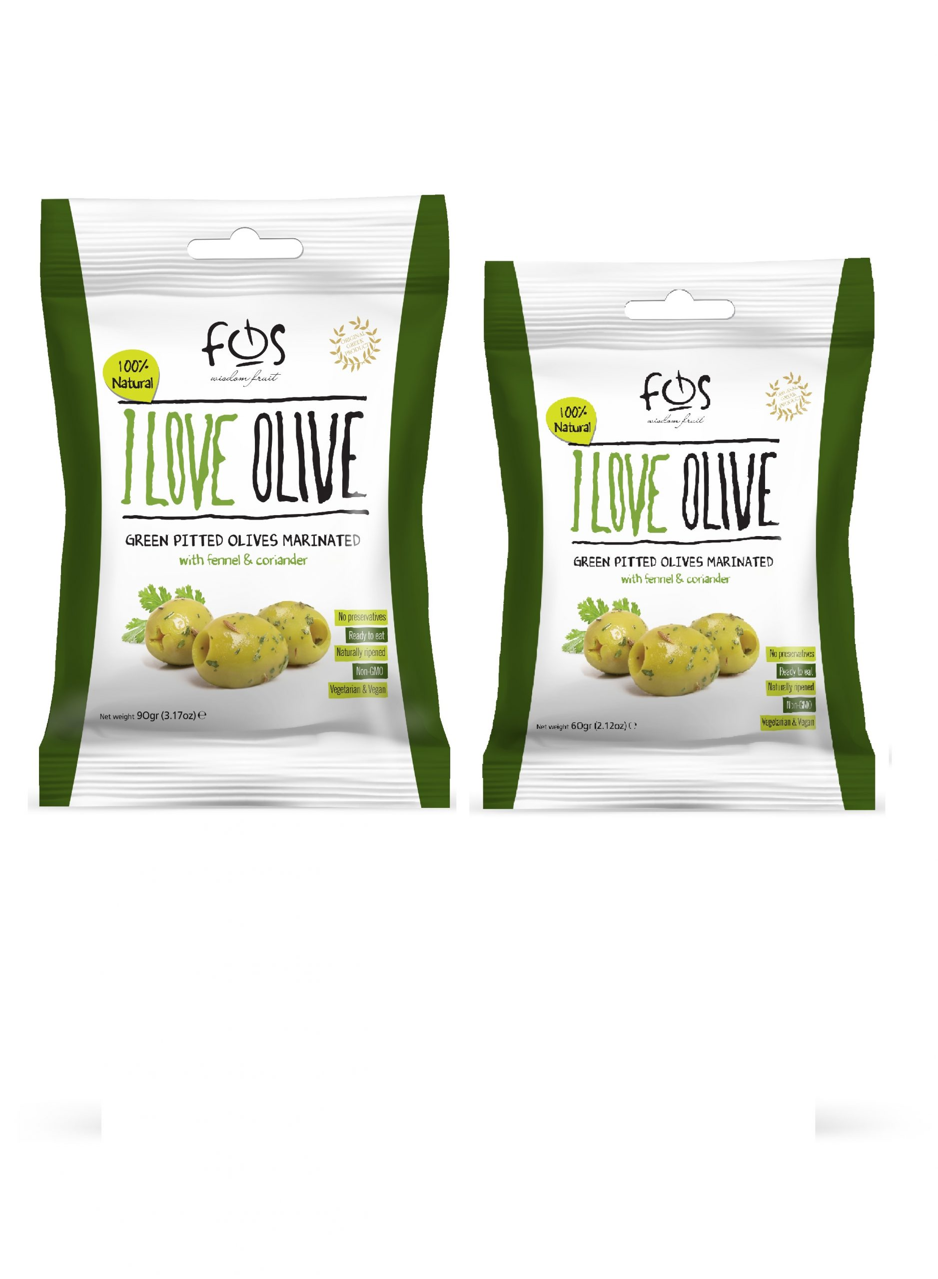 FOS – Greek Green marinated olives with fennel and coriander – pillowbag 90 and 60 gr