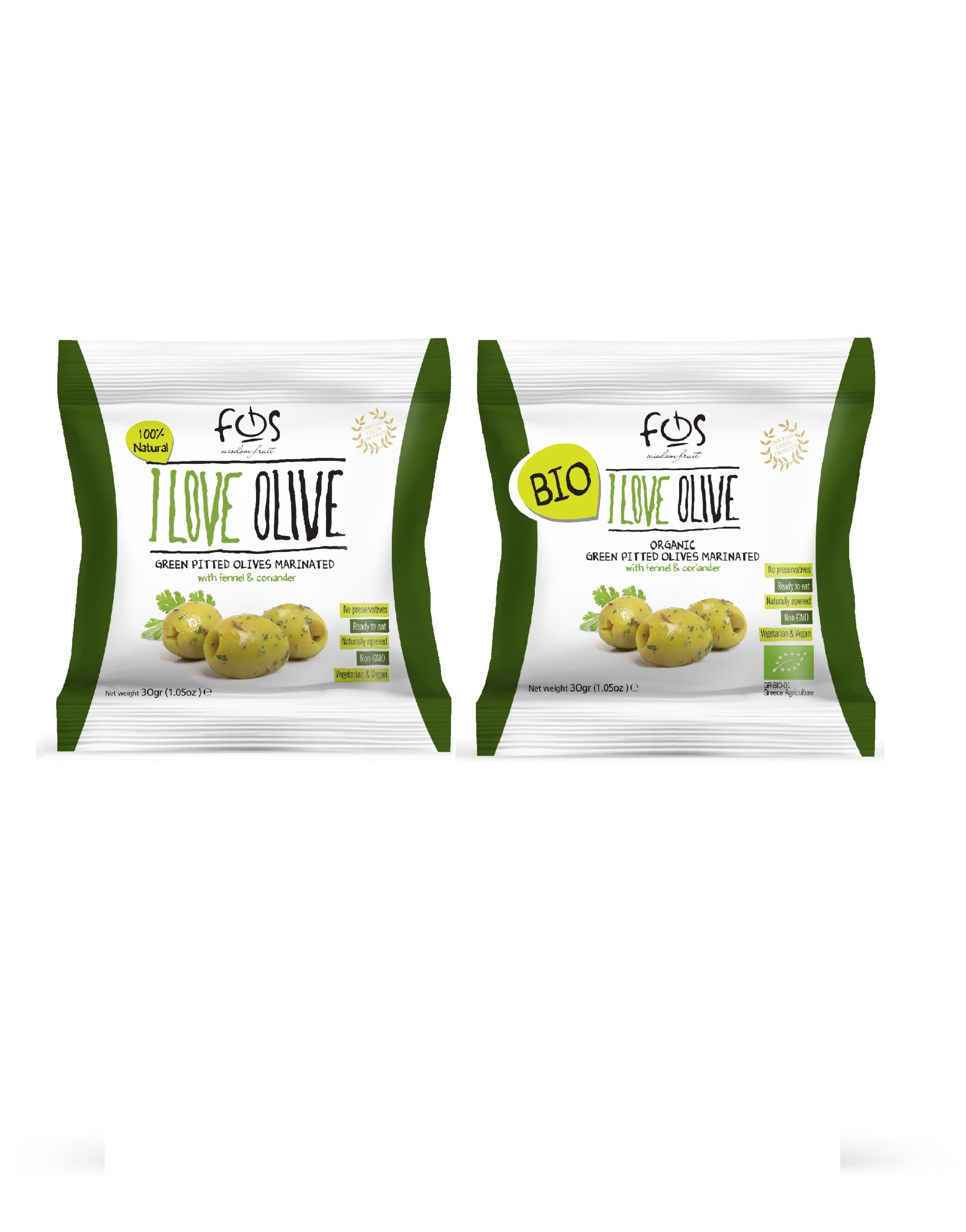 FOS –Greek Green marinated olives with fennel and coriander – pillowbag 30 gr and BIO 30 gr