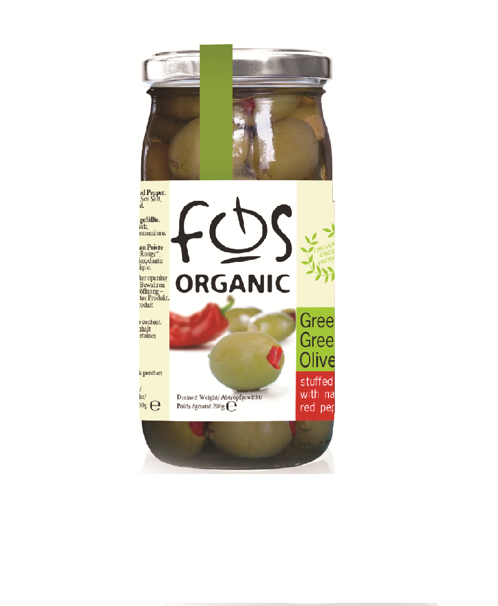 FOS – Organic Greek Green olives stuffed with red pepper– glass jar 360gr