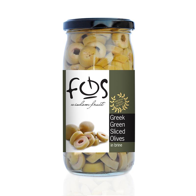 FOS – Greek Green olives sliced – glass jar 360gr