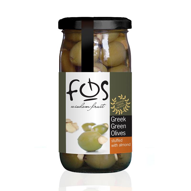 FOS – Greek Green olives stuffed with almond – glass jar 360gr