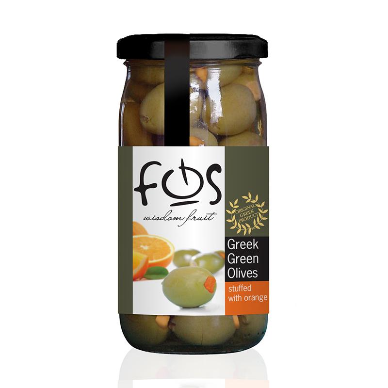 FOS – Greek Green olives stuffed with orange – glass jar 360gr