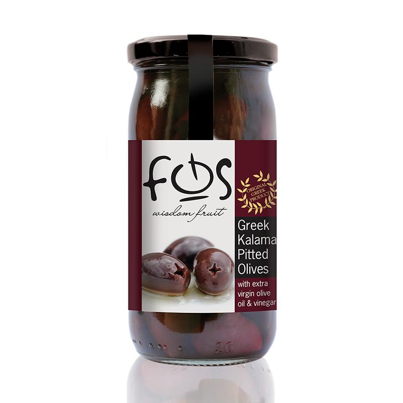 FOS – Greek Kalamata olives  pitted – glass jar 360gr