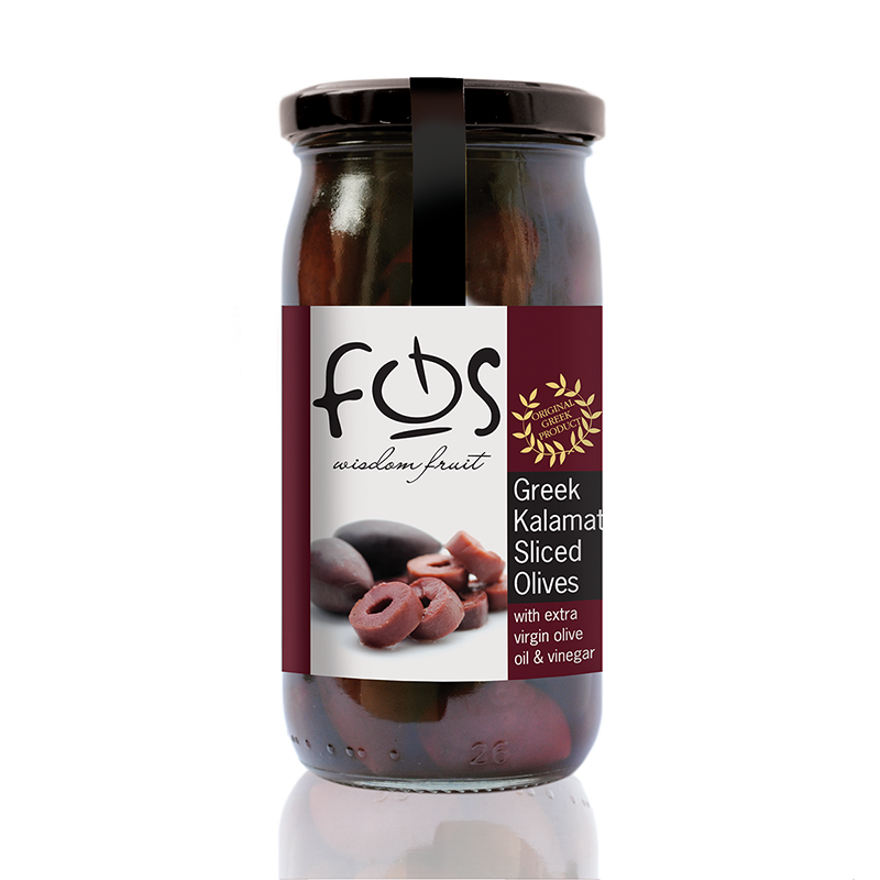 FOS – Greek Kalamata olives  sliced  – glass jar 360gr