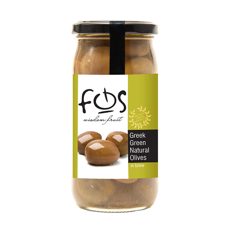 FOS – Natural Green olives whole – glass jar 360gr