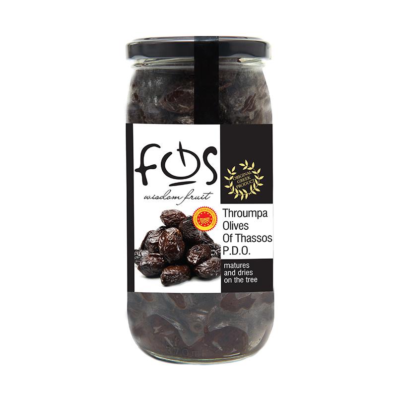 FOS – Greek Natural Sun Dried Black olives – glass jar 360gr