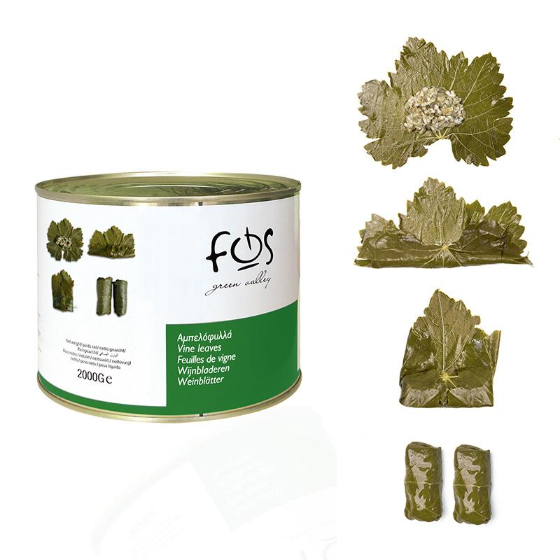 FOS – Greek Vine Leaves in brine – metal tin 2ooogr