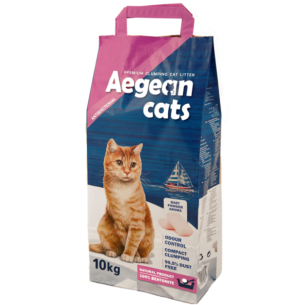 Aegean Cats Natural Cat Litter (10kg)perfumed with baby powder