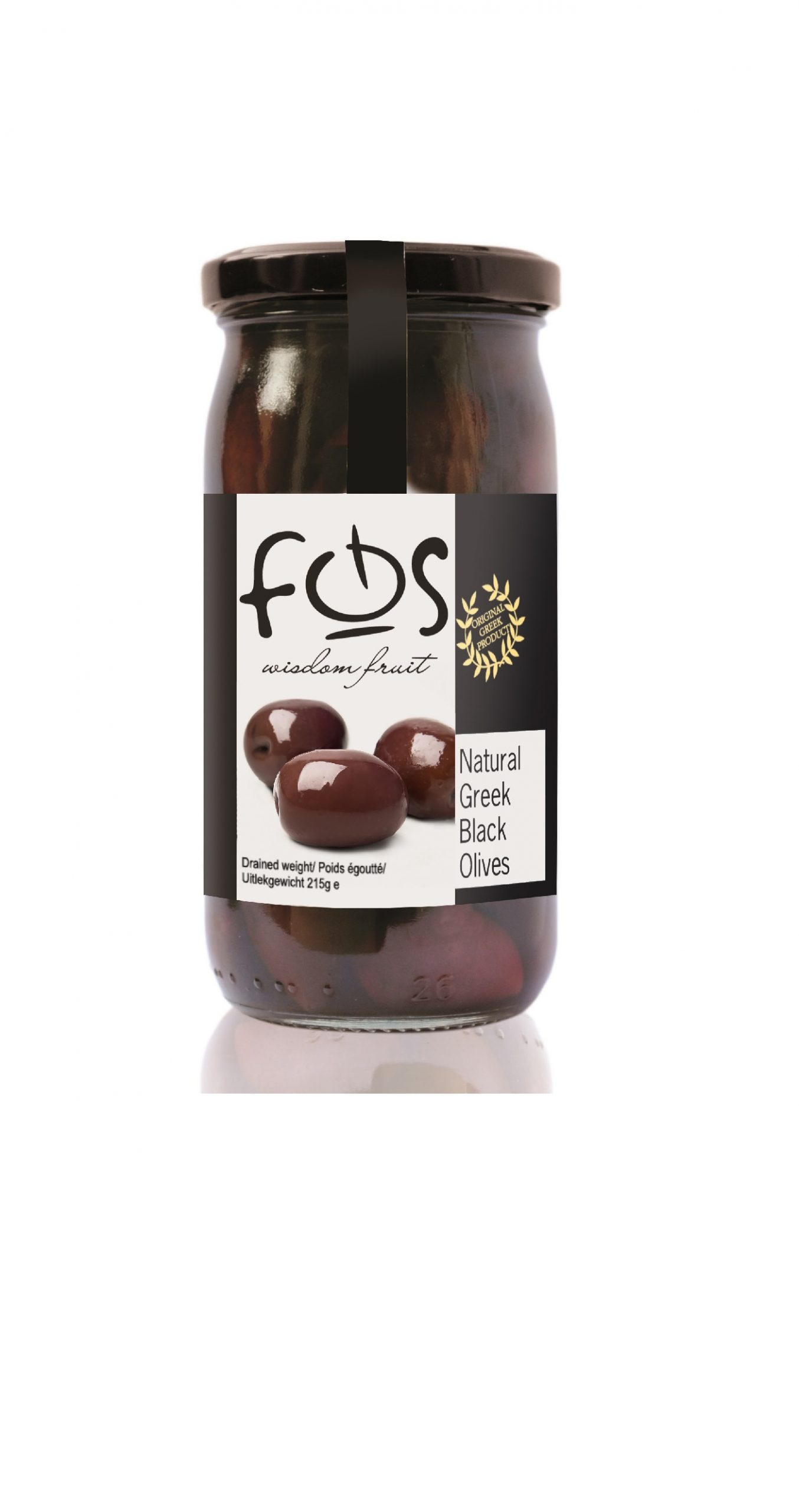 FOS – Natural Black olives whole – glass jar 360gr