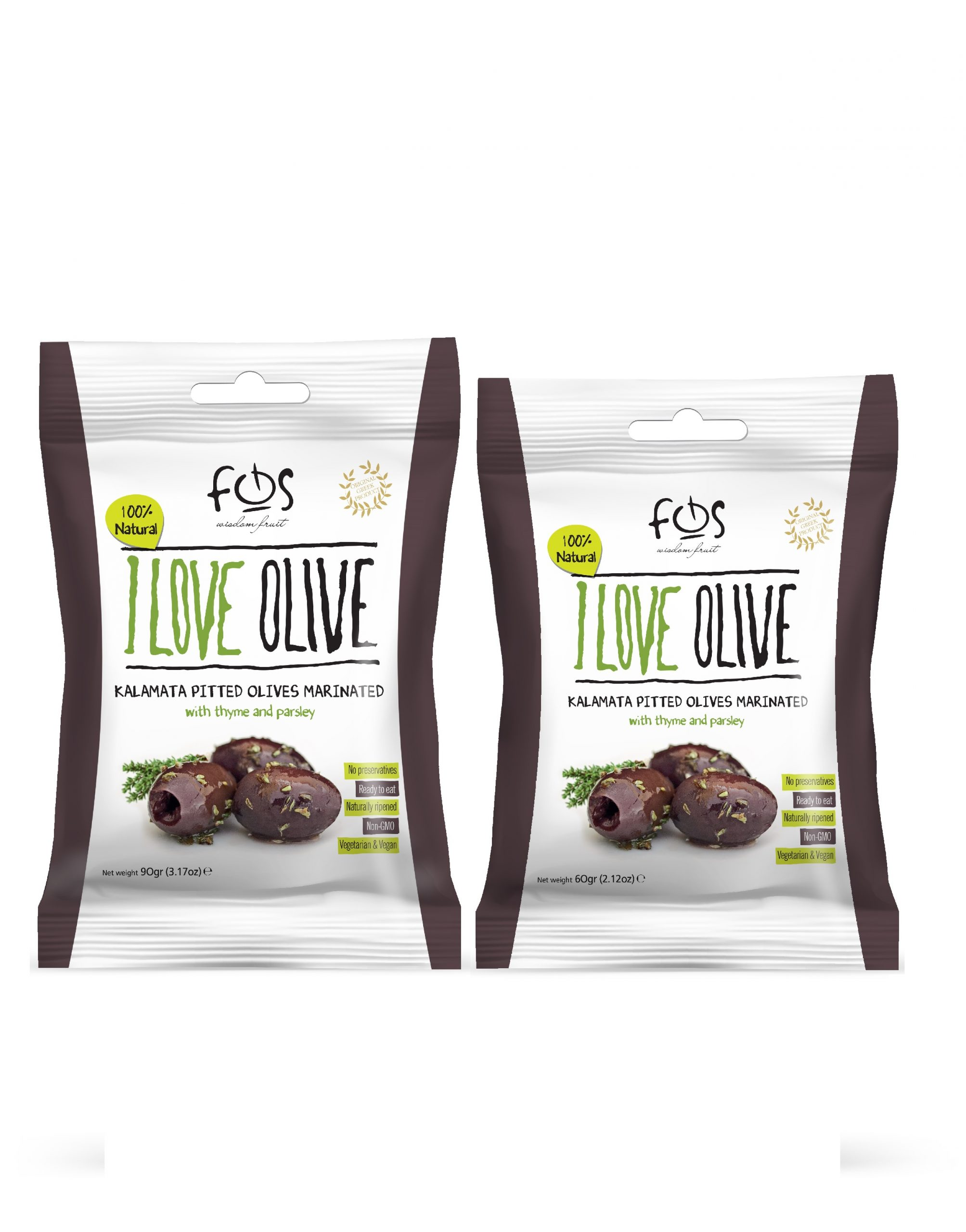 FOS – Greek Kalamata olives marinated with thyme and parsley-pillowbag 90 gr and 60 gr