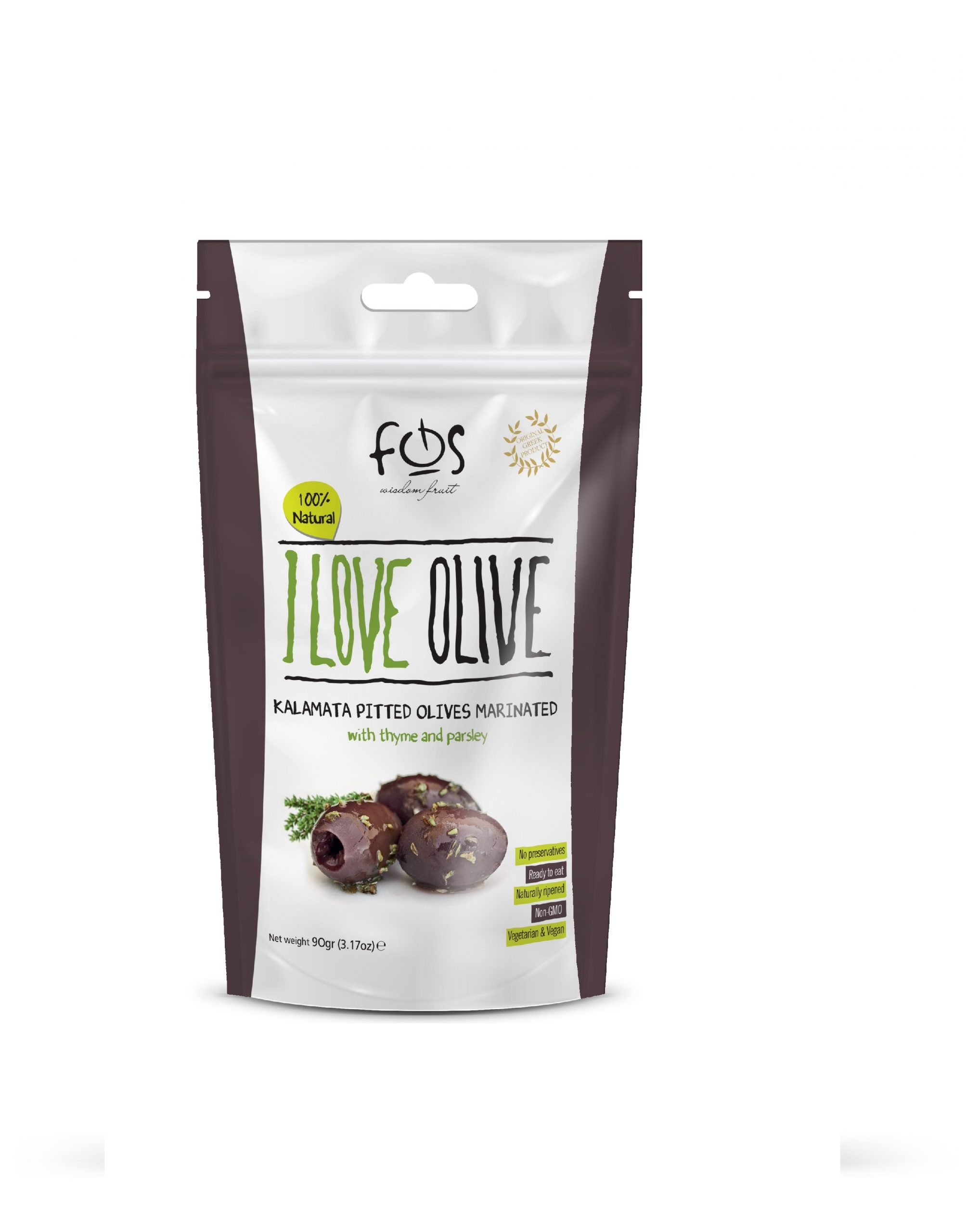 FOS – Greek Marinated Kalamata olives with thyme and parsley  – doypack 90gr