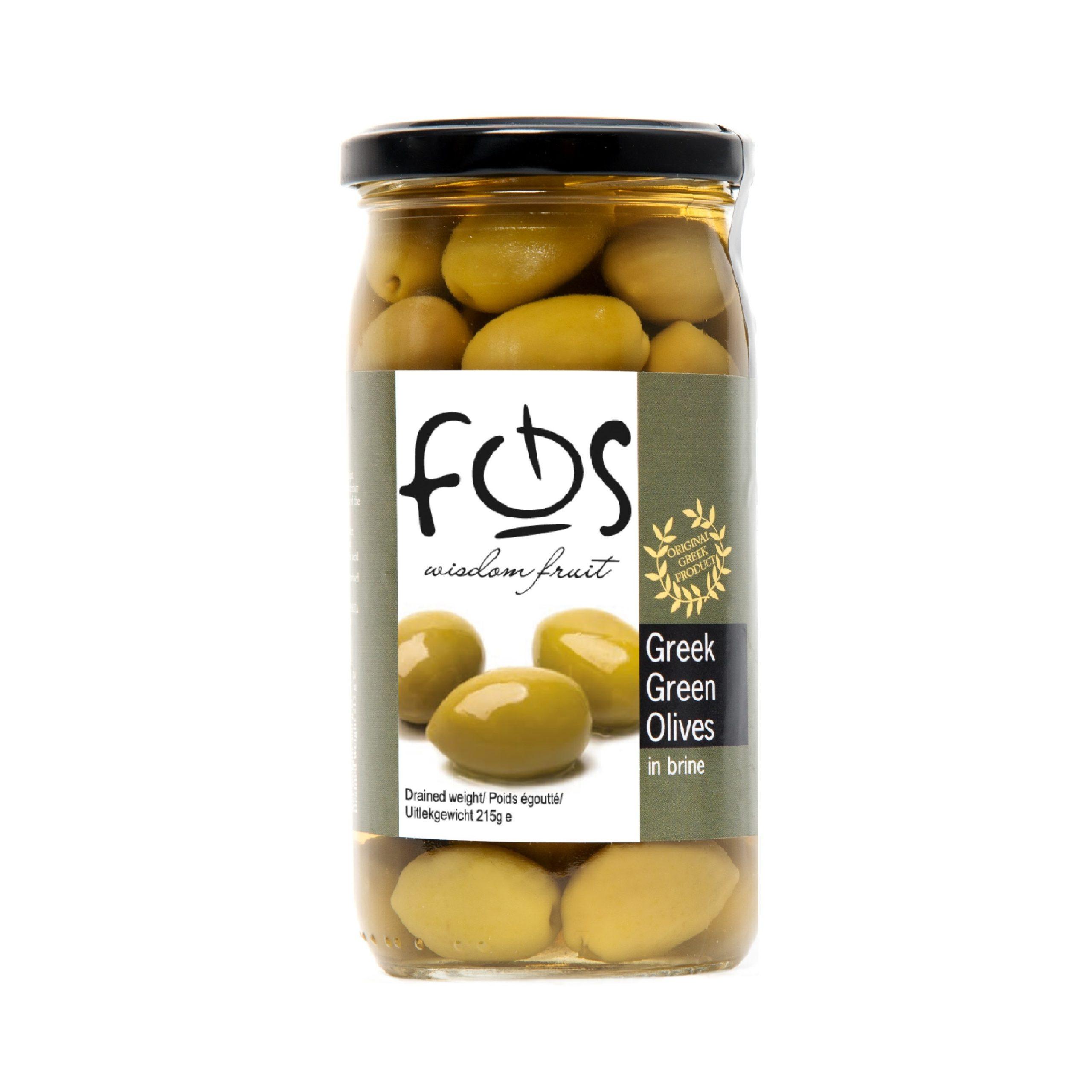FOS – Greek Green olives whole – glass jar 360gr