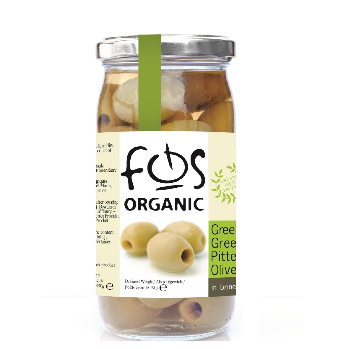 FOS – Organic Greek Green olives pitted – glass jar 150 gr