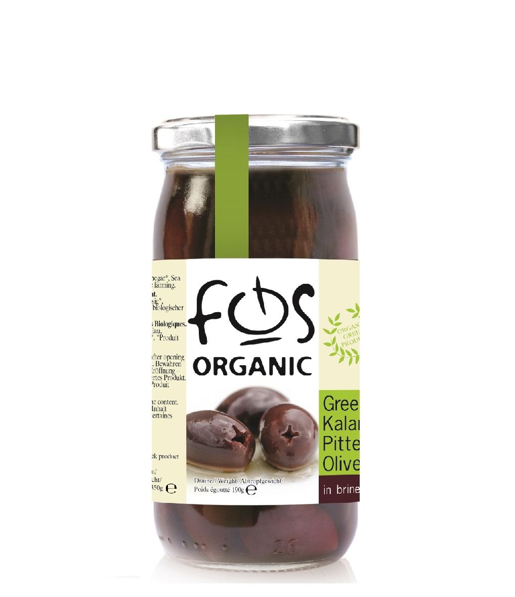 FOS – Organic Kalamata olives pitted-glass jar 360 gr