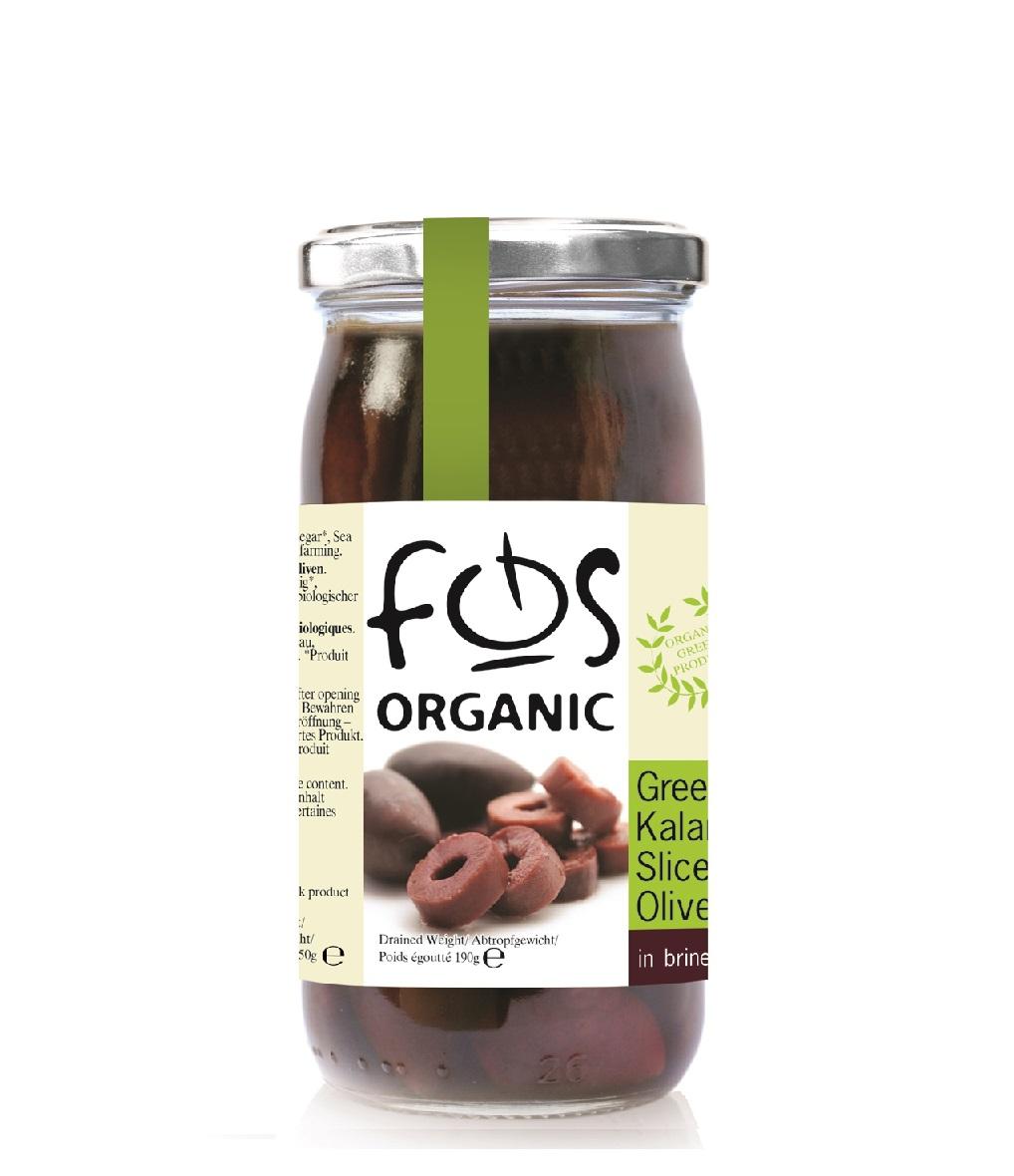 FOS – Greek Kalamata olives pitted – glass jar 135gr